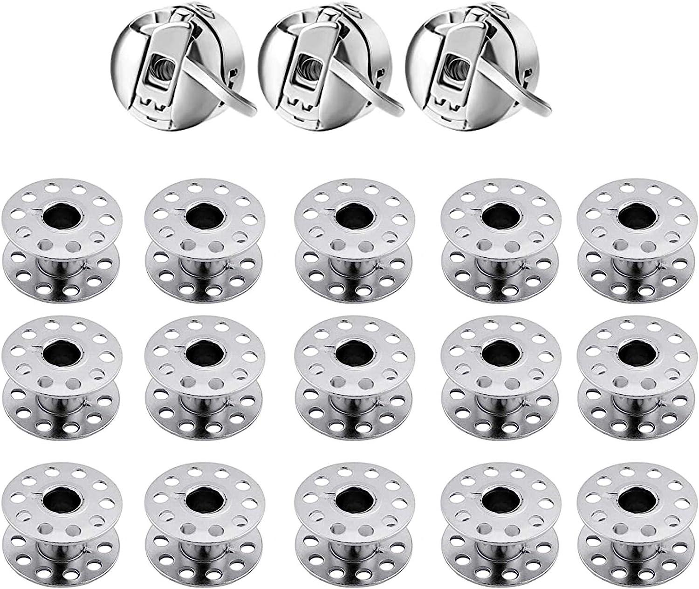 18 Piezas Caja de Bobina para M/áquina de Coser Inoxidable Caja de Bobina para M/áquina de Coser Metal Acero Inoxidable Coser Dom/ésticas Manualidades Bobinas de M/áquinas de Coser de Metal Bobinas