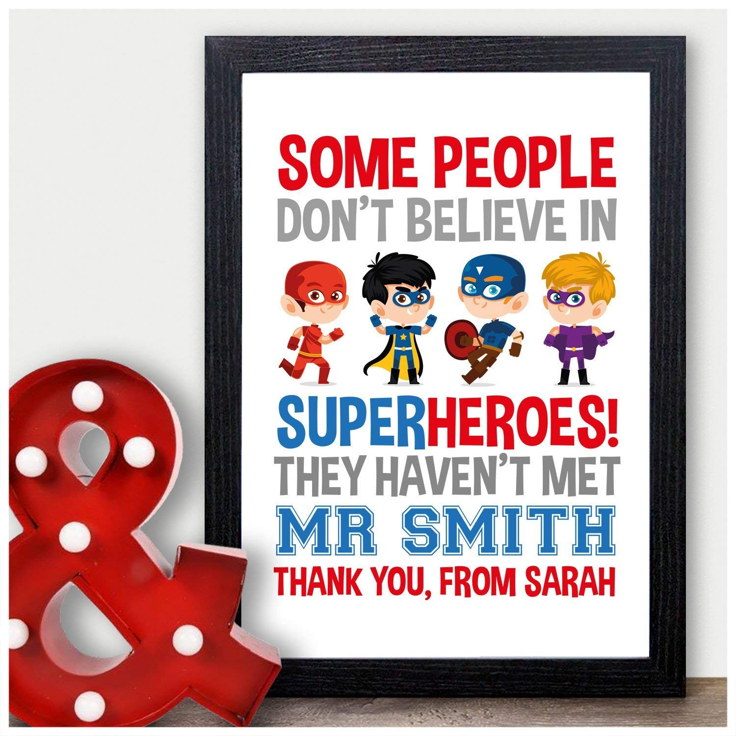 Personalised Super Hero Teacher Thank You Gifts for Male