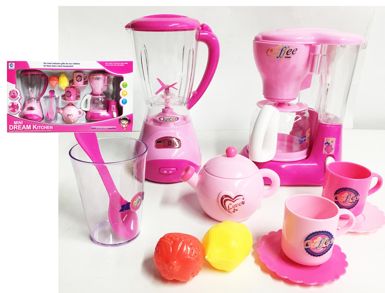 JM Mini Dream Kitchen Appliance Play Toy Set for Kids with Coffee Maker Blender & Tea Pot Accessories