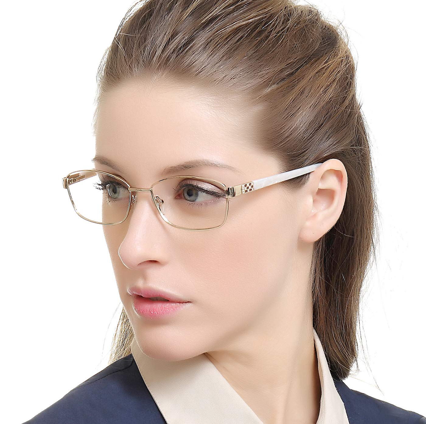 OCCI CHIARI Women Shining Rectangular Metal Optical Eyewear Frame with Clear Lenses (Cream White,55)