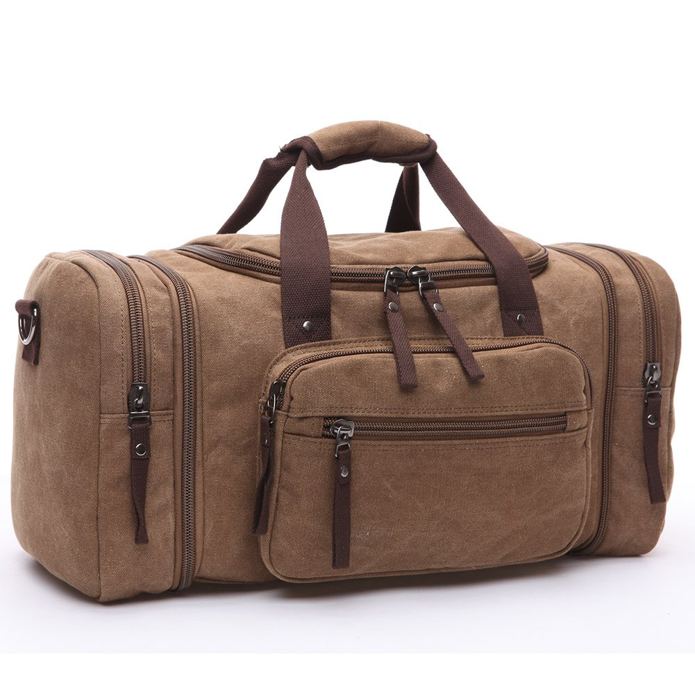 Toupons 20.8'' Large Canvas Travel Tote Luggage Men's Weekender Duffle Bag (Coffee)