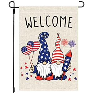 PANDICORN 4th of July Patriotic Gnomes American Flag Garden Flag 12x18 Inch Double Sided, Small Vertical Memorial Independence Day Welcome Garden Flag Outdoor Yard Decor