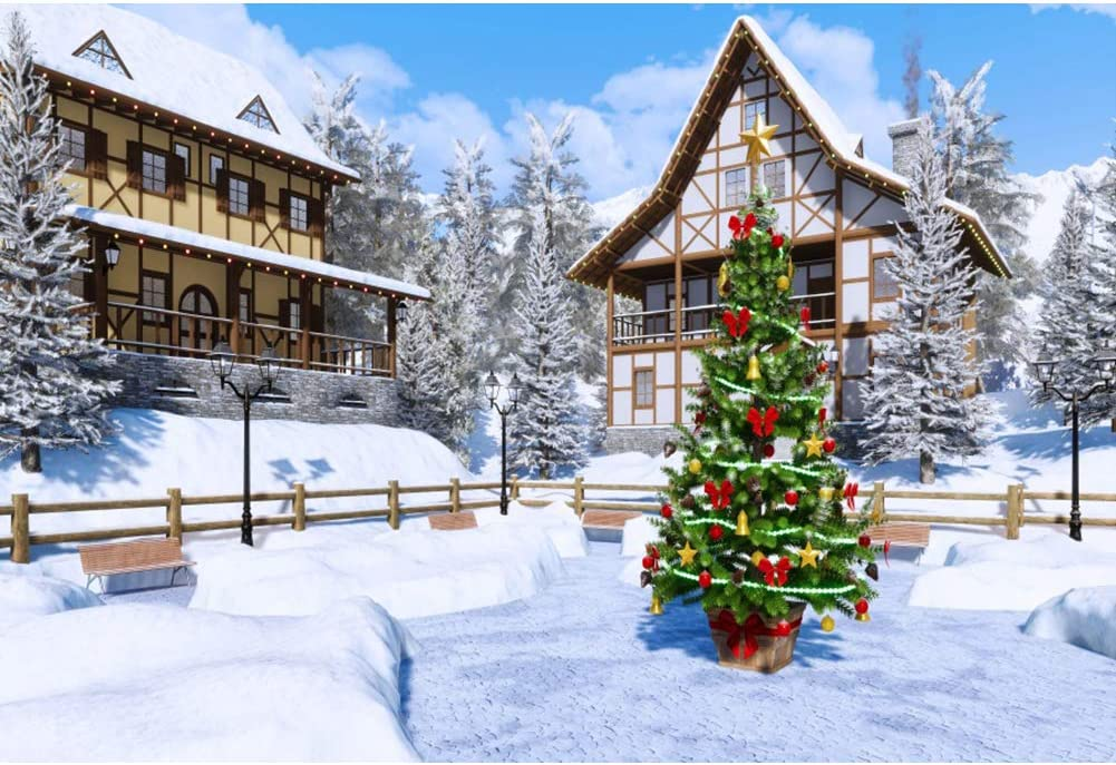 Winter Night Country Landscape with Little House Among Pine Trees and Snow Background for Baby Birthday Party Wedding Vinyl Studio Props Photography Christmas 10x12 FT Photography Backdrop