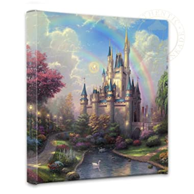 Thomas Kinkade - Gallery Wrapped Canvas , A New Day at the Cinderella Castle , 14  x 14  , 55389