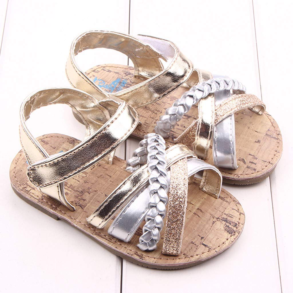 Cloudro Baby Roma Sandals Infant Girl Soft Anti-Slip First Walkers for 0-18 Months