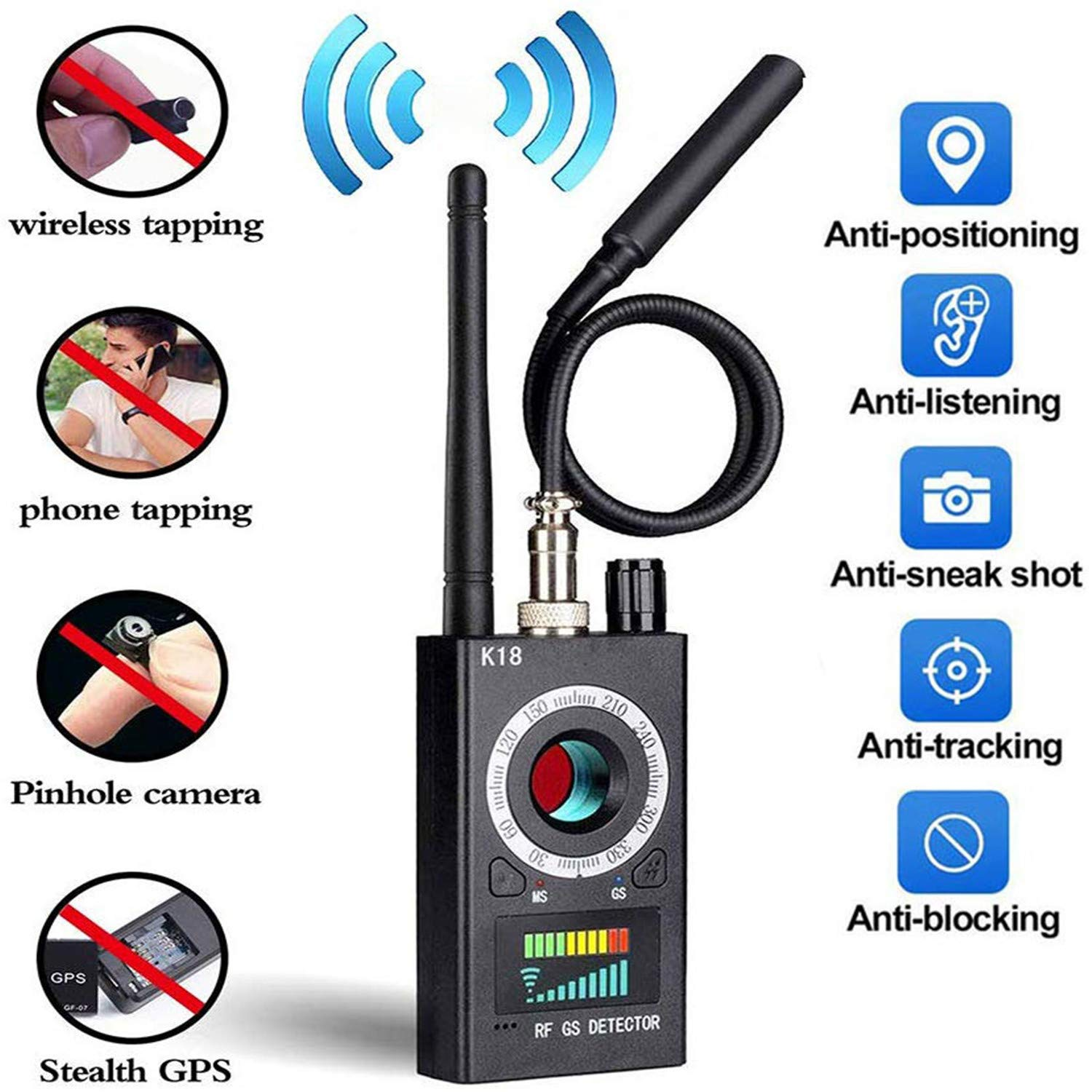 Anti Spy Detector /& Camera Finder RF Signal Detector GPS Bug Detector Hidden Camera Detector for GSM Tracking Device GPS Radar Radio Frequency DetectorKardia Mobile ECG for Apple /& Android Devices