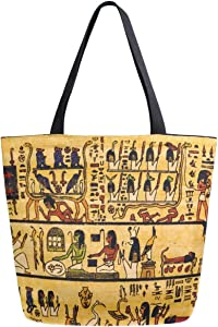 ZzWwR Ancient Egyptian Hieroglyph Vintage Pattern Extra Large Canvas Shoulder Tote Top Storage Handle Bag for Gym Beach Weekender Travel Shopping