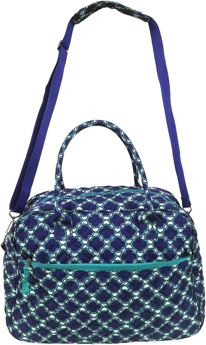 Large Quilted Cotton Duffel Bag Blue Moroccan Trellis Shoulder Shop Tote Women