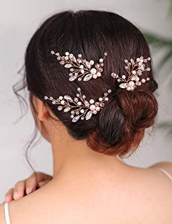 Bridal hair pin rose gold hair comb,Wedding hair clip,Small pearl hair comb,Wedding hair pin pearl hair pin Bridal hair accessories Crystal
