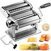 BABYLTRL Pasta Maker - Stainless Steel Pasta Machine, 9 Adjustable Thickness Settings Noodles Maker Includes Hand Crank Clamp, Homemade Pasta Roller Cutter for Fettuccine Spaghetti Lasagnette