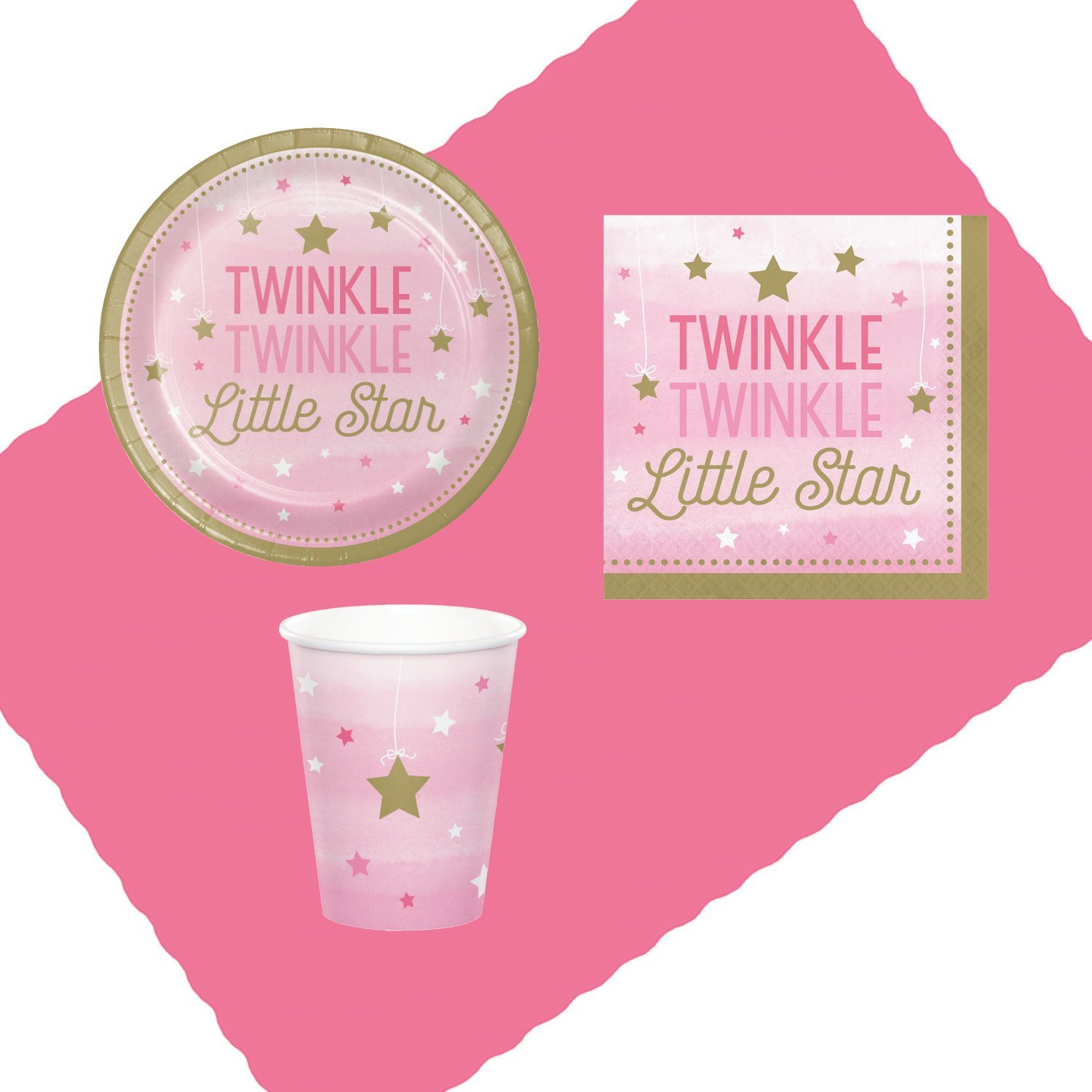 Twinkle Twinkle Little Star Pink Party Supplies for 16