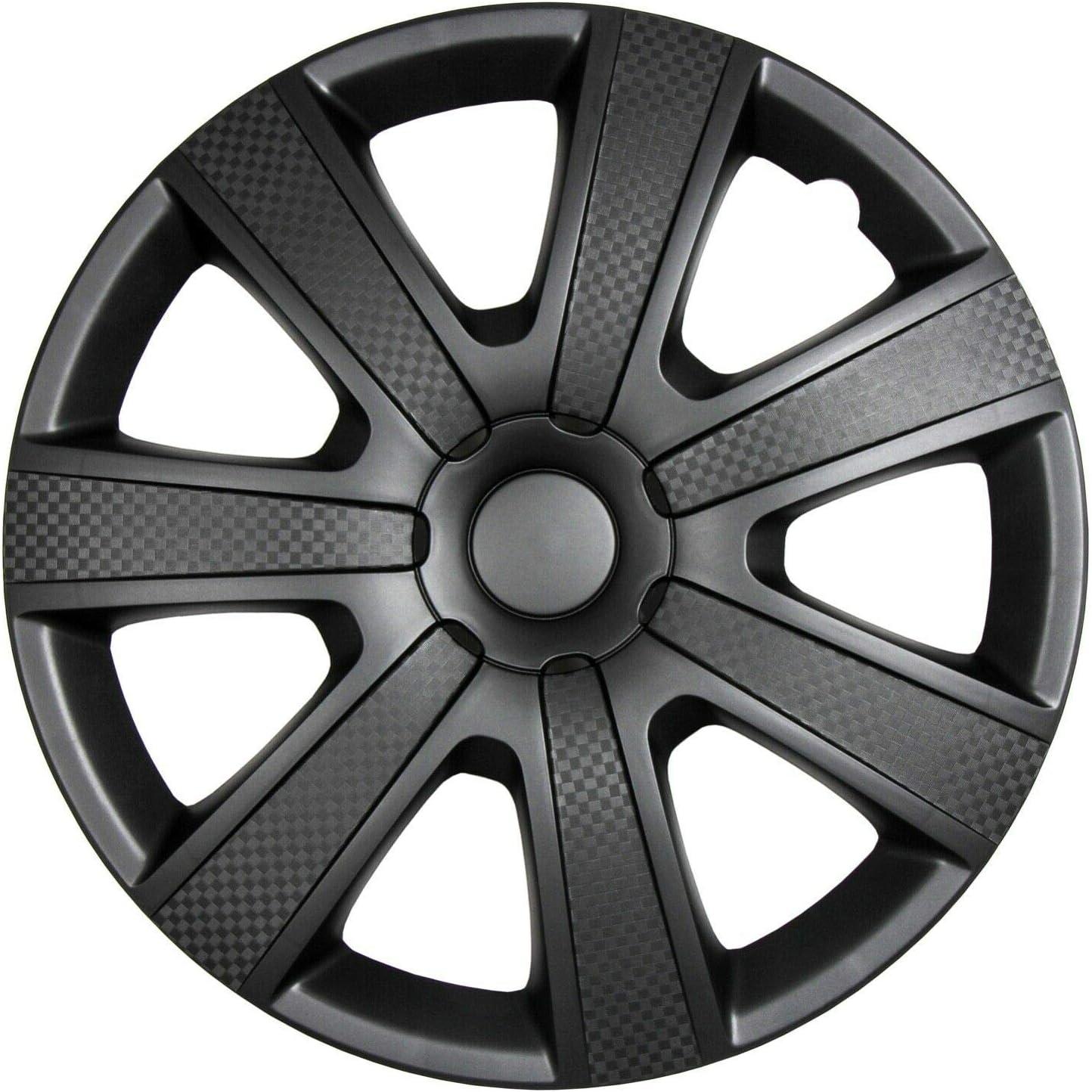Juego de 4 tapacubos de 14 pulgadas para llantas de acero 85BPM, color negro: Amazon.es: Coche y moto
