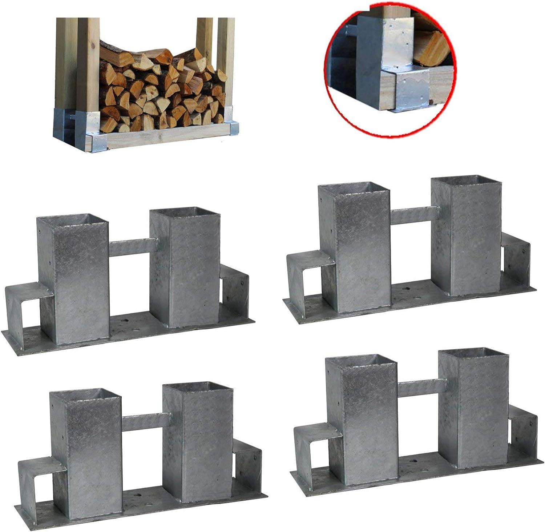 4er Set Stapelhilfe Holzstapelhilfe Holzstapelhalter Holz Kaminholz Brennholz