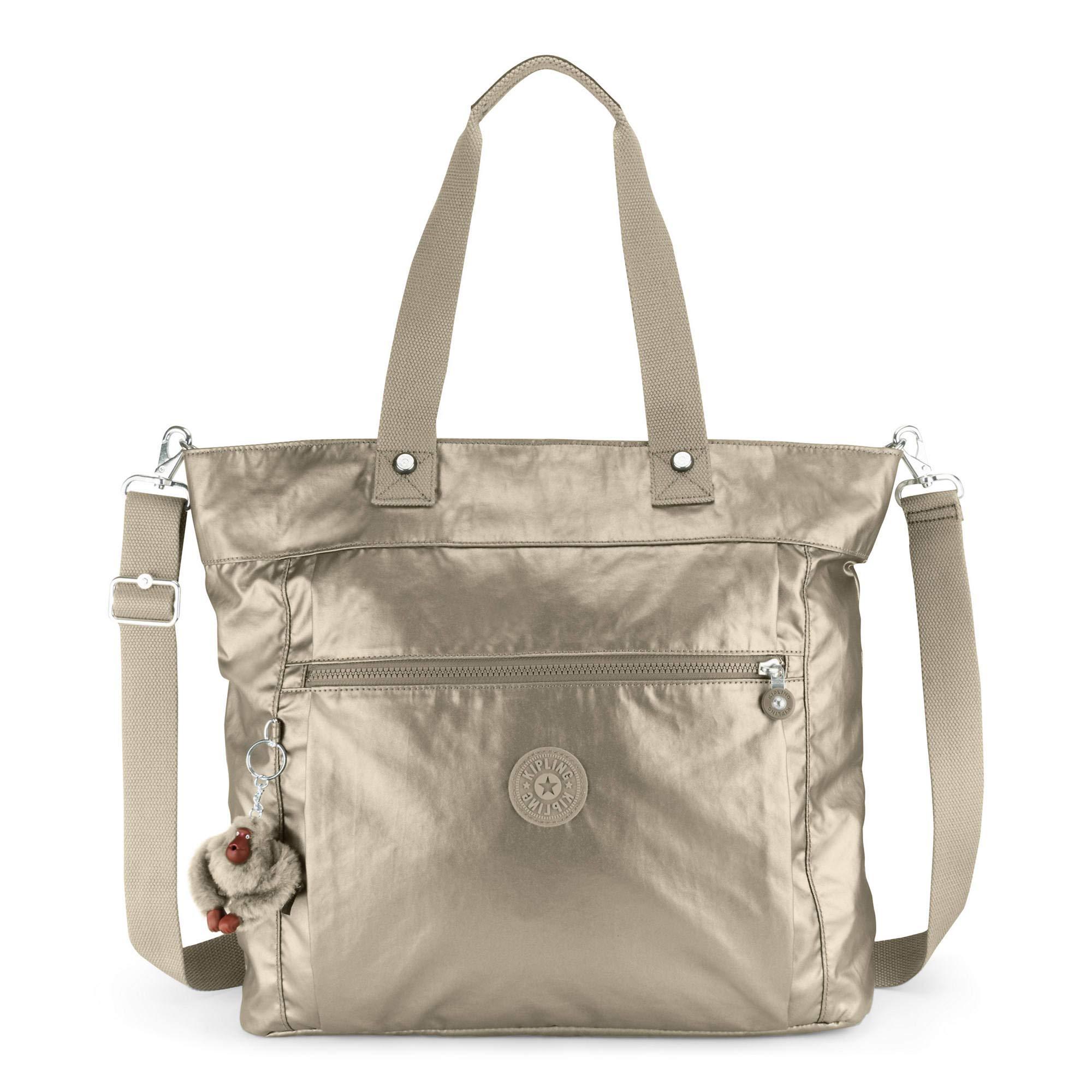 Kipling Lizzie Laptop Tote Bag, Metallic Pewter, Metallic Pewter