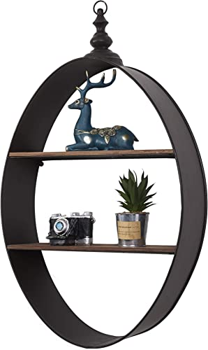 RiteSune Wall Shelf Rustic Wood Floating Shelves, Contemporary Floating Iron 2 Shelf Wall Unit, Decorative Wall Shelf for Bedroom Living Room Bathroom Kitchen Oval 30 inch