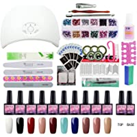 Saint-Acior 10 Colors Gel Polish Starter Kit 36W LED UV Nail Dryer Curing Lamp Manicure Nail Tool