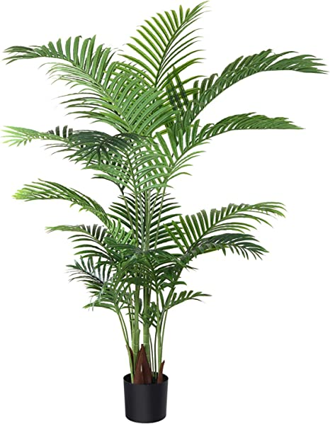 Amazon Com Fopamtri Artificial Areca Palm Plant 5 Feet Fake Palm Tree With 17 Trunks Faux Tree For Indoor Outdoor Modern Decoration Feaux Dypsis Lutescens Plants In Pot For Home Office Perfect Housewarming