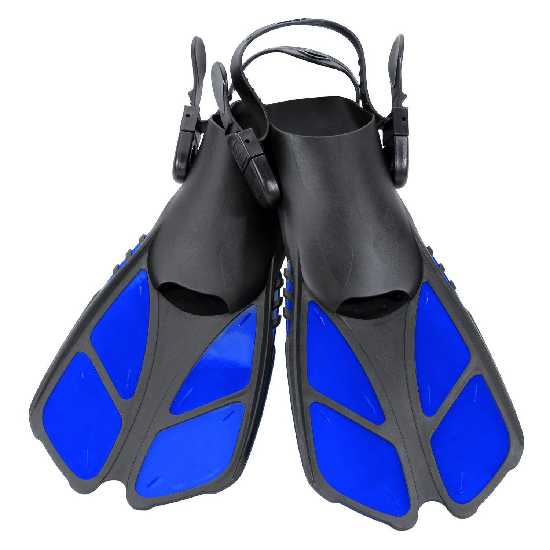 CAPAS Snorkel Fins, Swim Fins Travel Size Short Adjustable for Snorkeling Diving Adult Men Womens Kids Scuba Open Heel Swimming Flippers (Blue, S/MD(Kids JR 9-13))