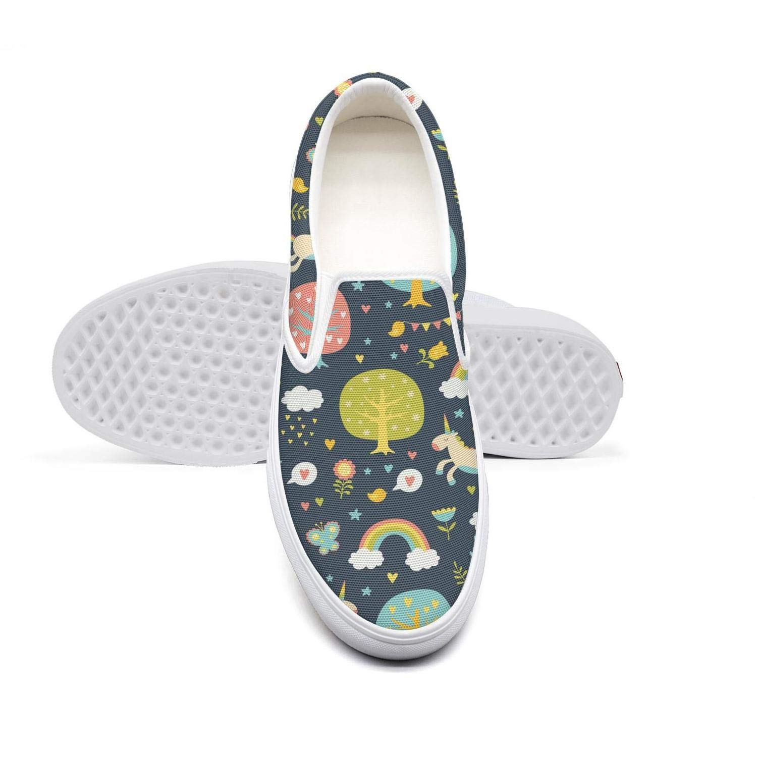 Lovely Unicorn Run in The Forest Youth Classic Canvas Sneakers Excellent Walking Sneakers Training Shoes