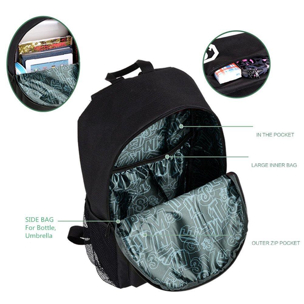 flymei Anime Cartoon luminoso mochila con puerto de carga USB y estuche, diseño de Lock & unisex moda mochila hombro escuela mochila para portátil bolsa de ...