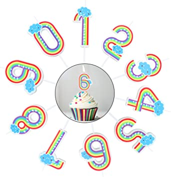 Amazon.com: BBTO - Velas con números arcoíris, 10 unidades ...