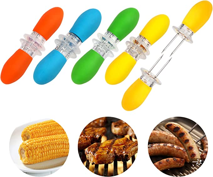 6 Onwon 20 Pieces Corn Holders Stainless Steel Corn On The Cob Skewers Twin Prong Cooking Fork for BBQ Barbecue Camping Picnic Home Outdoor