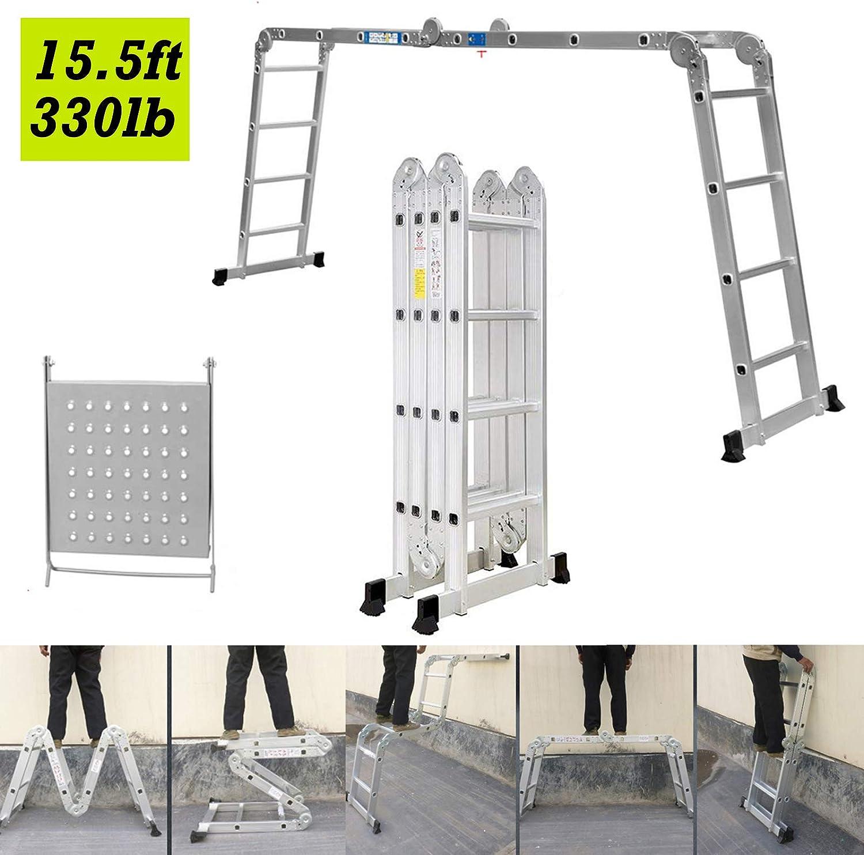 4,7 m de escalera de combinación multifunción extensible plegable de aluminio ligero con 1 bandeja de herramientas para interiores y exteriores, constructor de bricolaje: Amazon.es: Bricolaje y herramientas