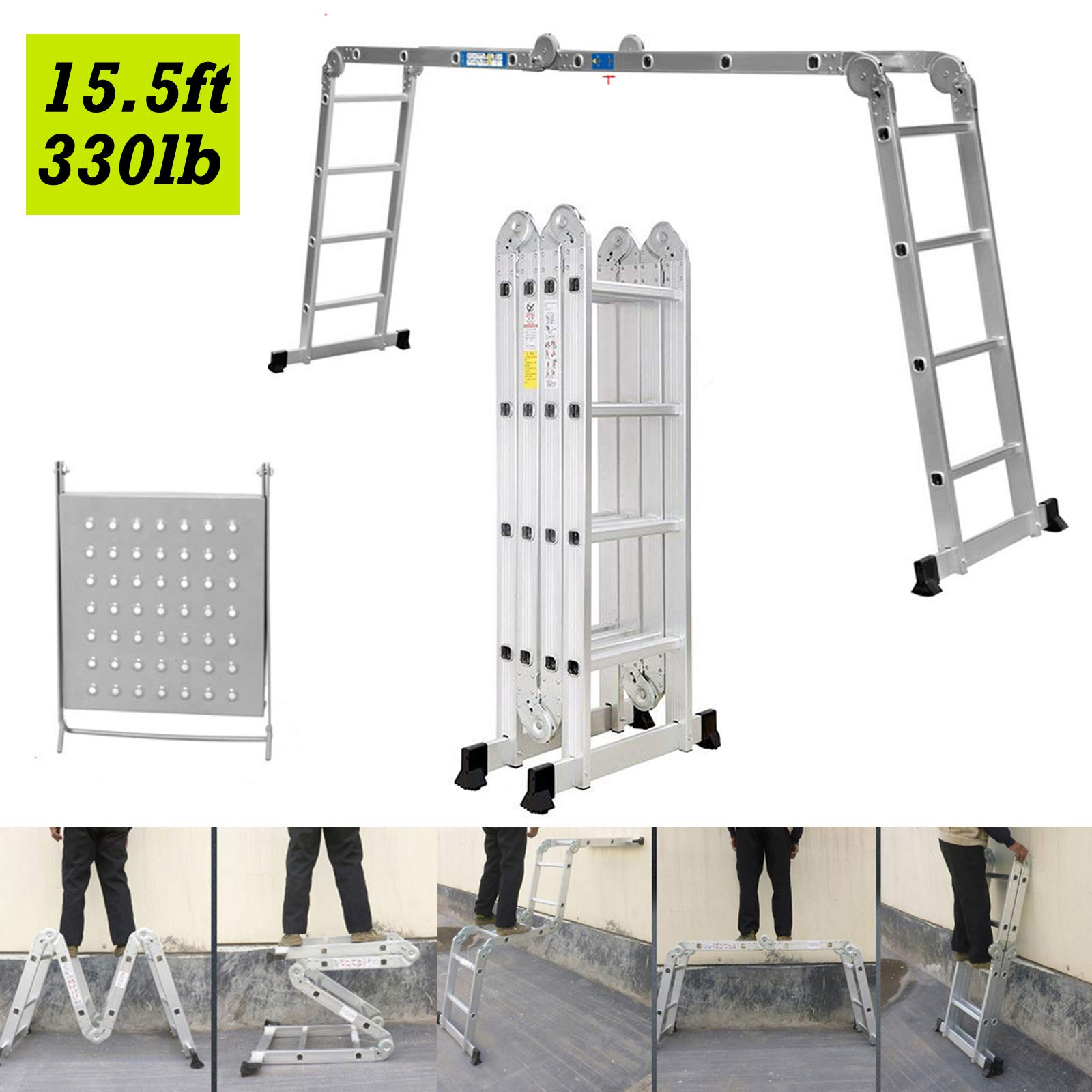 DICN Multipurpose Folding Ladder Aluminum 15.5FT 4.7M Extension Combination Scaffold Ladders 330lb Max Load + 1 Tool Tray for DIY Builder Work Decoration Indoor Outdoor