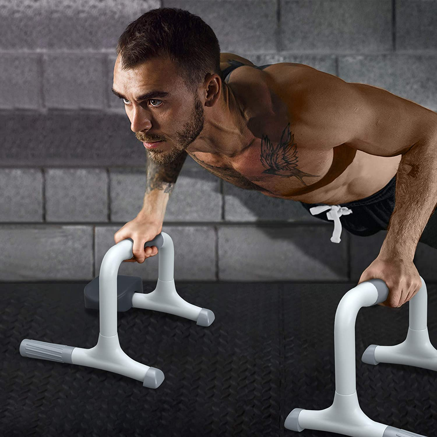 White READAEER 3.0 Update Version Big Size Push Up Bars Gym Exercise Equipment Pushup Stands Set with Elbow Support Anti-slip Pivot Fitness Stands for Men /& Women