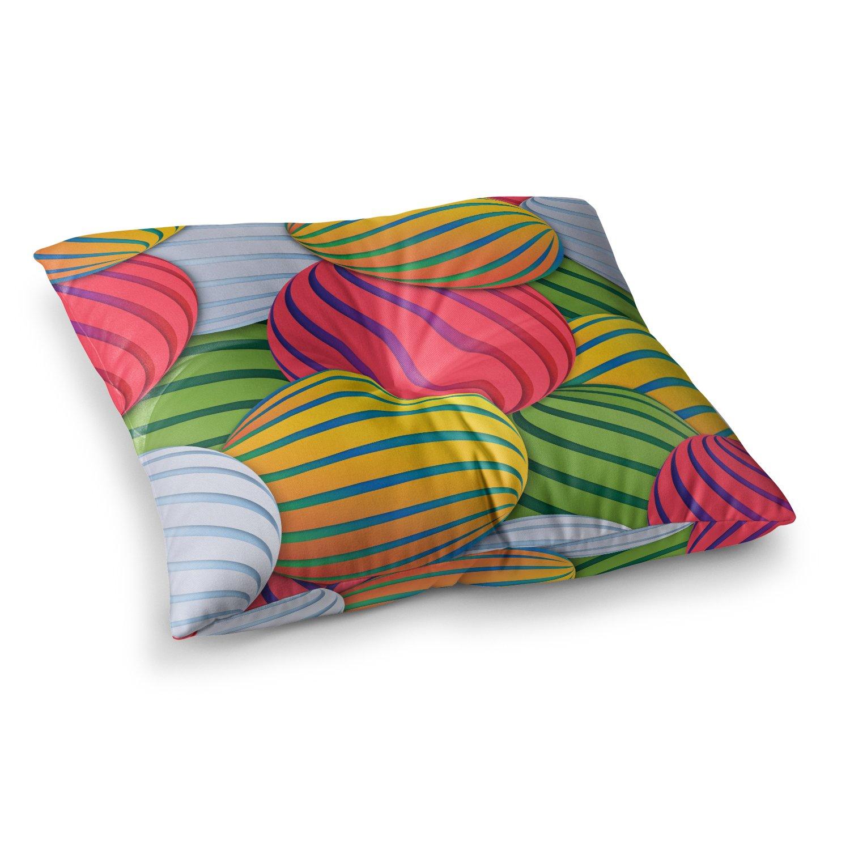 23 x 23 Square Floor Pillow Kess InHouse Danny Ivan Melons Pink Green