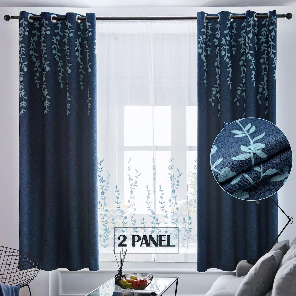 Tinysun Vine Flower Embroidered Top Linen Textured Curtain for Bedroom 2 Panels,Mute Groment,Elegant Countryside Designed Window Blackout Curtains for Living Room (Navy/Blue,W52xL84)