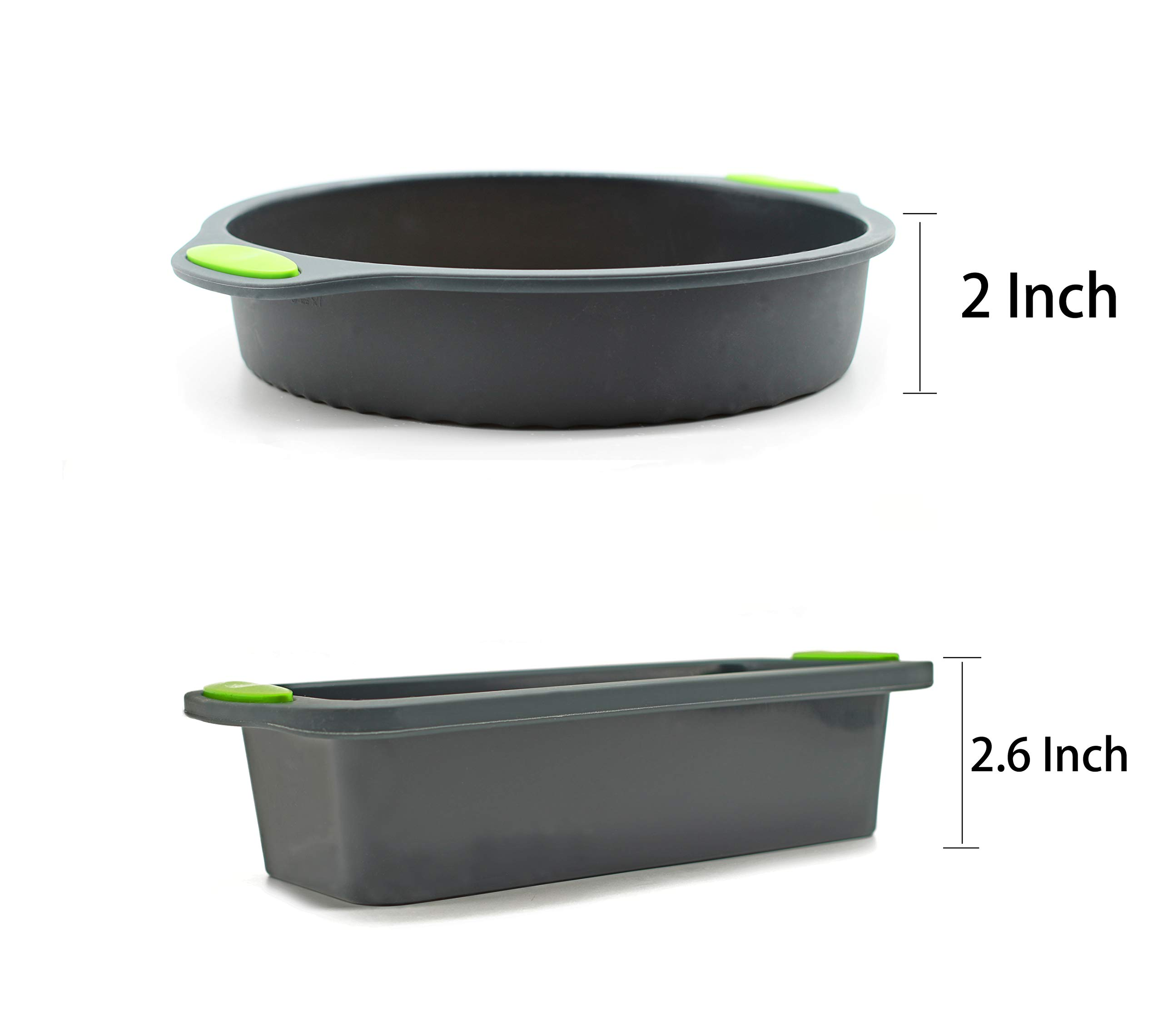 5 Pieces Silicone Bakeware Set | Food Grade FDA-Approved Silicone Molds | Round Cake Pan, Loaf Toast Bread Pan, 12 Cup Muffin Pan, 7-Cavity Donut Pan, 11x7.5-Inch Cake Tray - Baking Pans Nonstick Set by megrocle (Image #3)
