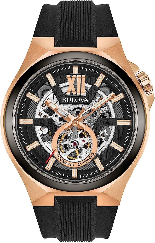 Bulova Reloj Analógico para Hombre de Automático con Correa en Silicona 98A177