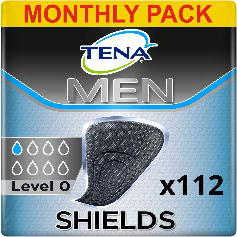 TENA Men Escudo Protector Negro, Protege slip Incontinencia Hombre - 112 Unidades (8x14)