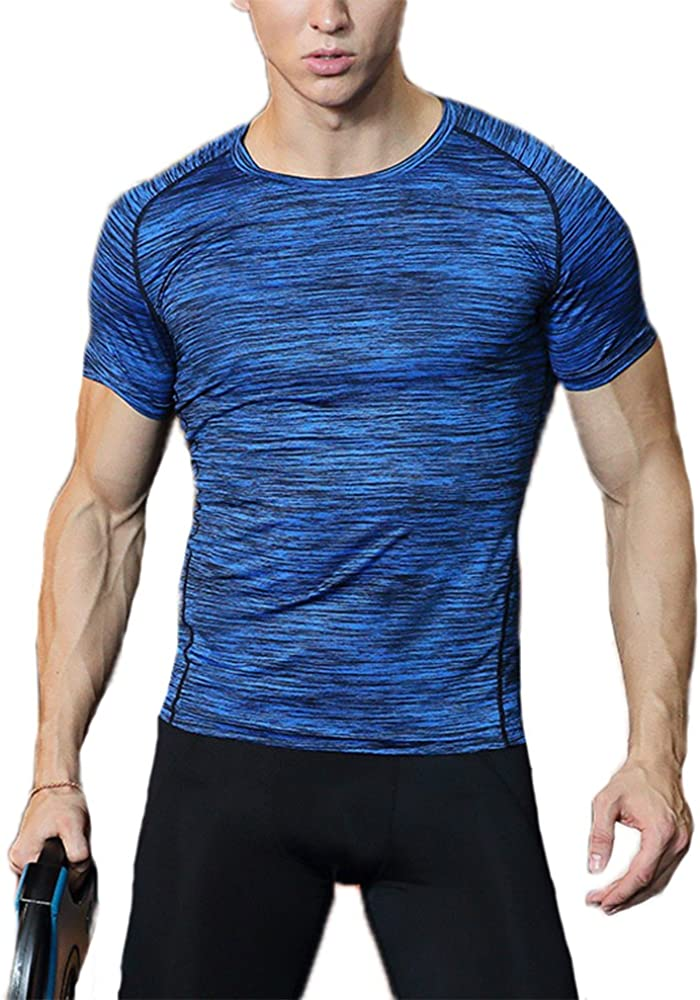 keephen Mens Tops Fitness Workouts Quick Drying Running T-Shirts Fitness Clothes Stretch Tights Hit Color Solid T-Shirts