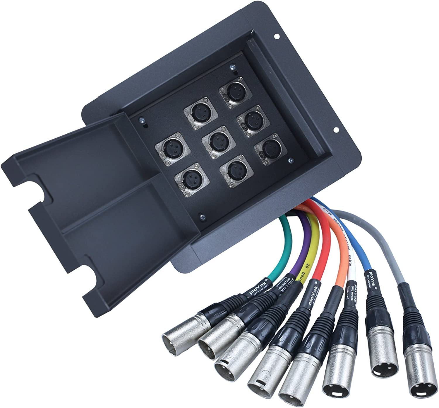 Image of Advance MCS Electronics Pro Audio Recessed Stage in Floor Pocket Box Black with Prewired Connections Microphone Cables