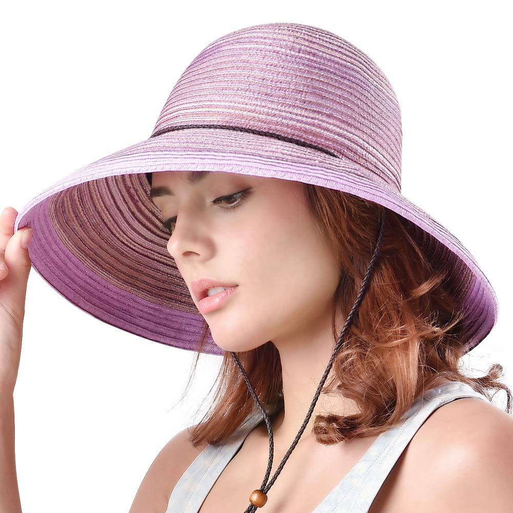 Sh052 Light Purple FURTALK Wide Brim Floppy Sun Hat 100% Cotton Packable Summer Beach Hats for Women