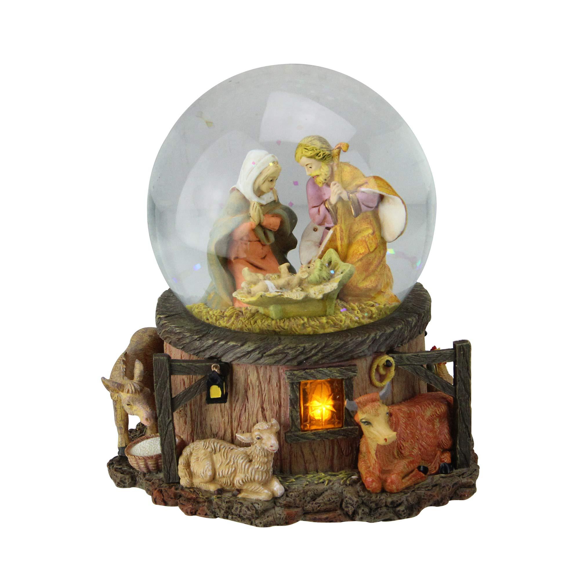 Roman 7.5'' Fontanini Musical Lighted Nativity Stable Scene Christmas Snow Globe Glitterdome