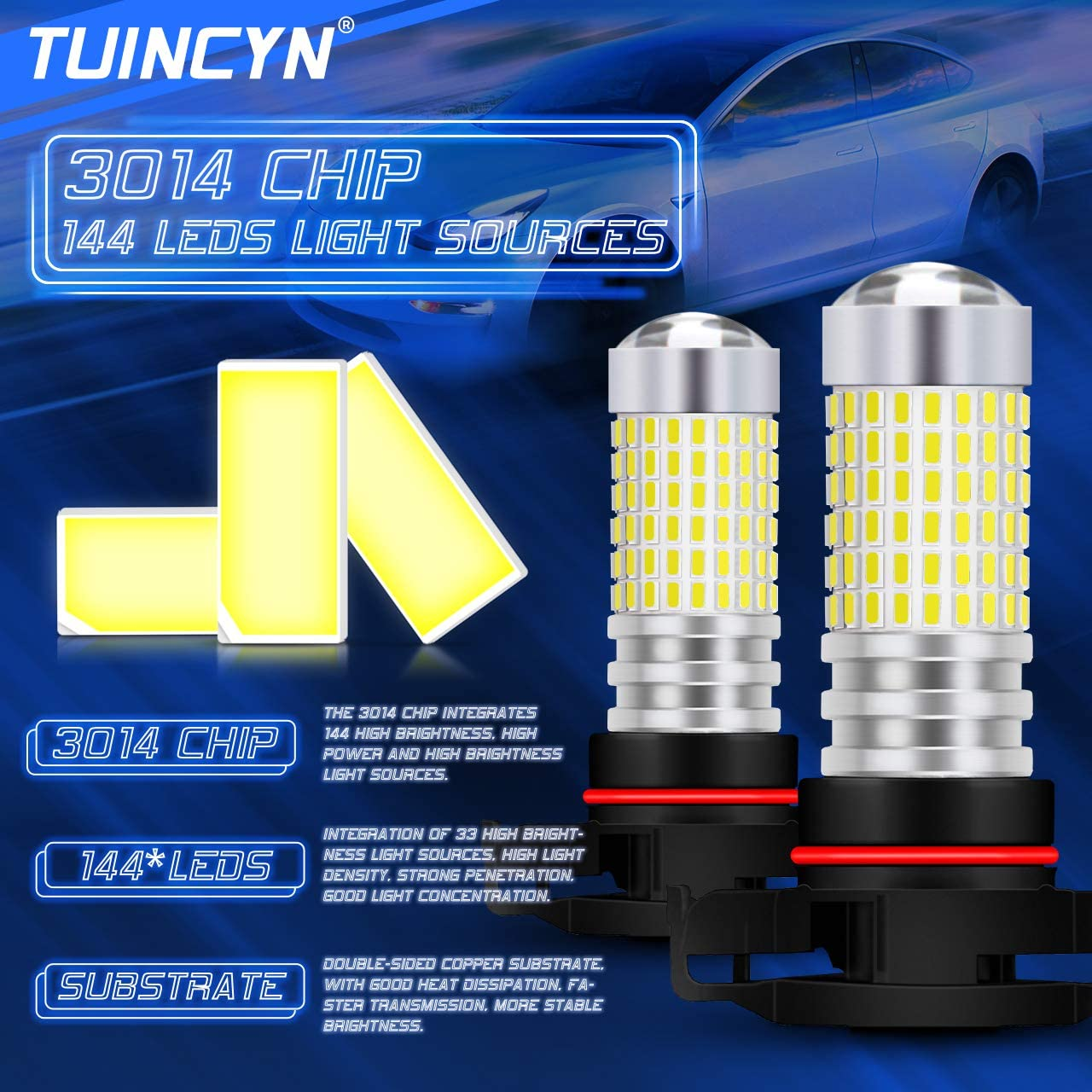 TUINCYN H4 9003 HB2 a men/é lampoule antibrouillard Xenon blanc 6000K 3014-144SMD lumineux DRL Feux diurne DC 12V-24V paquet de 2