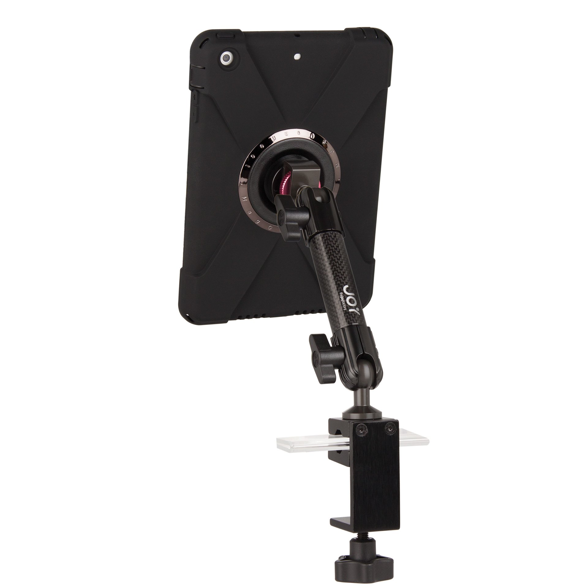 The Joy Factory MagConnect Carbon Fiber C-Clamp Stand Mount w/ aXtion Bold M Water-Resistant Rugged Shockproof Case for iPad mini 1/2/3 (MWE202M) by The Joy Factory