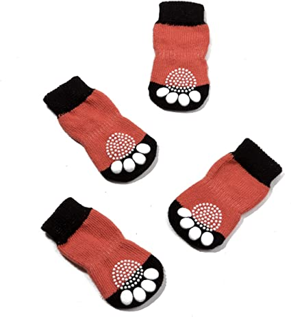 Anti-Slip Knit Dog Paw Protector/&Cat Paw Protector for Indoor Wear Pet Heroic 6 Sizes Anti-Slip Knit Dog Socks/&Cat Socks with Rubber Reinforcement Suitable for Small/&Medium/&Large Dogs/&Cats
