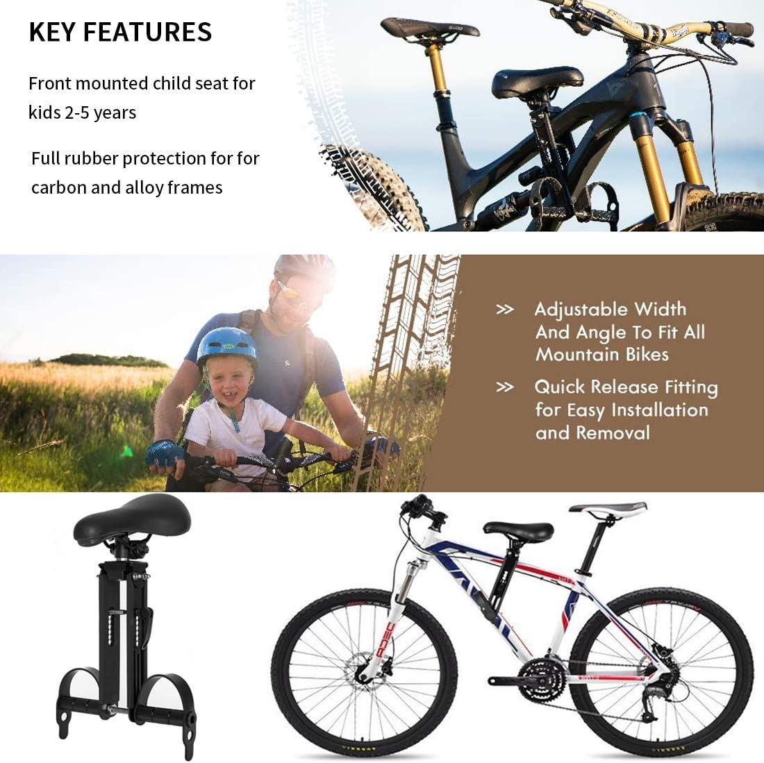 Outdoor Kinderrads/ättel f/ür 2-5 Jahre TYCOLIT Verstellbarer Kinderfahrradsitz Kompatibel mit Allen Erwachsenen MTB bis zu 48 lbs