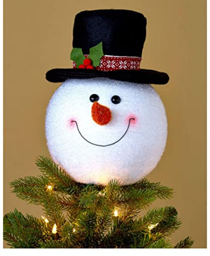 Christmas Top Hat Ornaments.Amazon Com Snowman Christmas Tree Topper Frosty Top Hat