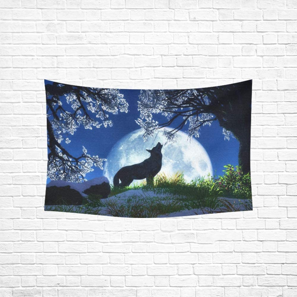 Amazon Com Wjjsxka Tapestry Wolf Howling At Full Moon Wallpaper