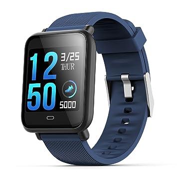 Cikuso Reloj Inteligente Q9 con Monitor de frecuencia Cardiaca Reloj de presion Arterial Reloj Inteligente Soporte Facebook Whatsapp para Hombres Mujeres, ...