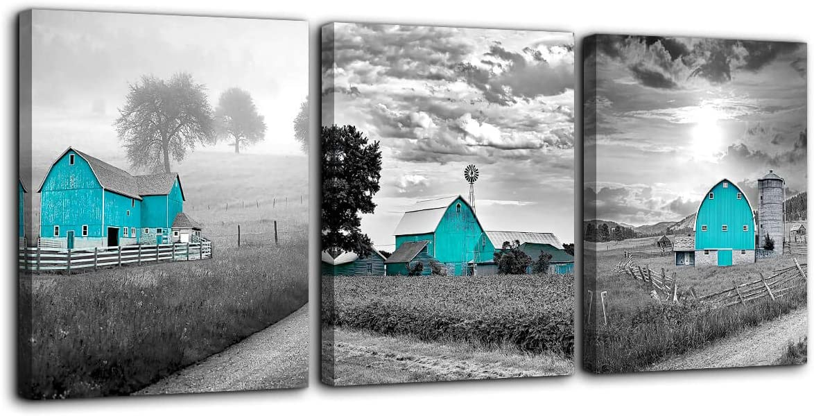 Teal Farmhouse Black and White Country Rustic Cabin Wall Art for Bedroom Bathroom Wall Decoration Farm Themed Canvas Picture Artwork Ready to Hang for Home Living Room Wall Decor Size 12x16 Each Panel
