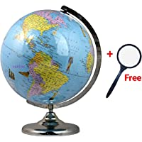 GeoKraft Educational Political 12 Inch Laminated World Globe with Chrome Arc and Base/ Home Décor/Office Décor/Gift Item