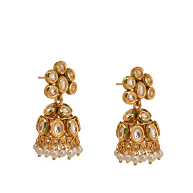 Buy Zephyrr Ethnic Kundan Pearl Jhumka Earrings Gold Tone Party