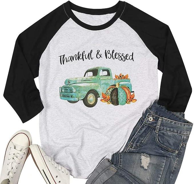 Thankful Blessed T Shirts Women Thanksgiving Pumpkin Truck Graphic Baseball Tee Tops 3/4 Sleeve Splicing Shirt Tops