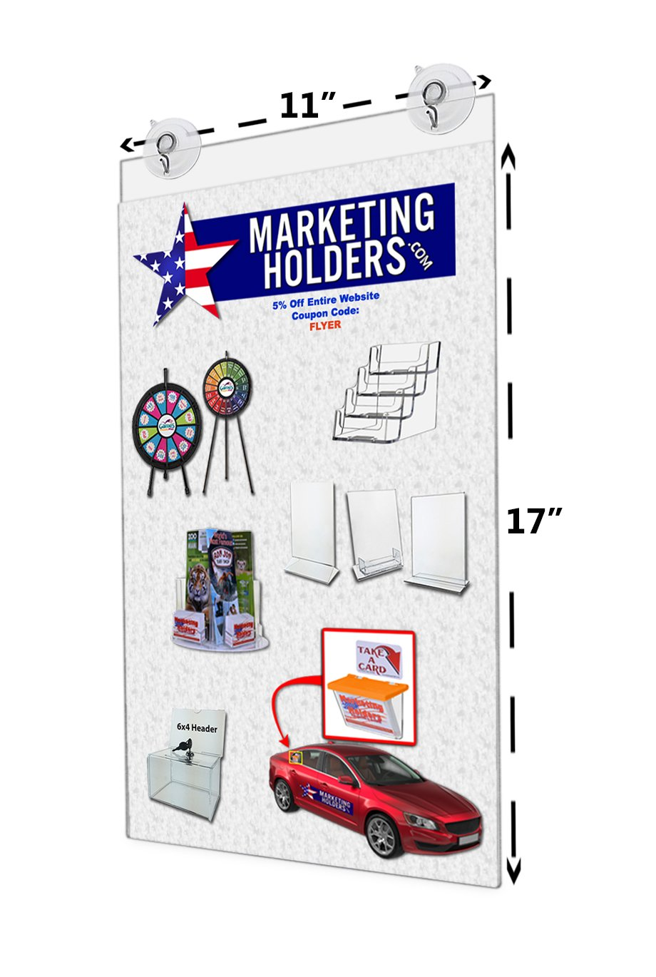 Marketing Holders 11''W x 17''H Window Mount Ad Frame/Sign Holder with 2 Suction Cups with Hooks (Lot of 6)